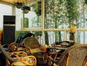 绿色自然雅致欧式室内休闲阳台效果图