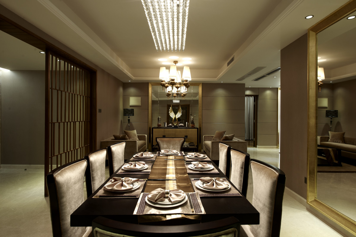 欧式风格轻奢灰色餐厅装修布置