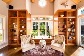 橙色美式书房局部设计装潢