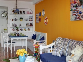 地中海风格浪漫橙色客厅设计案例