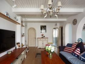 清新白色地中海风格客厅装潢案例