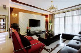 简欧红色客厅背景墙装修图片