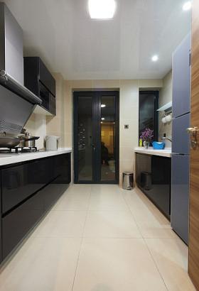 2016黑色简约风格厨房橱柜装修效果图片