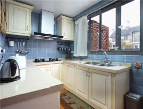 美式风格蓝色厨房橱柜装修图片