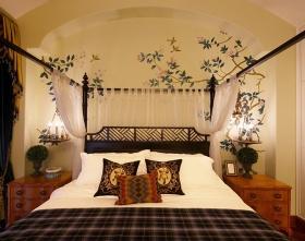 橙色东南亚风格卧室背景墙效果图欣赏