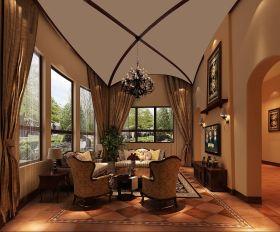 休闲田园风格客厅吊顶设计
