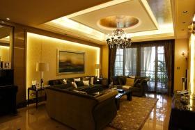 欧式风格黄色客厅吊顶美图欣赏