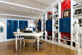 个性摩登欧式风多彩书房设计
