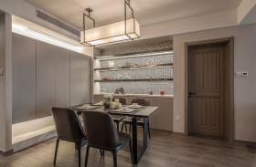 灰色新中式风格餐厅吊顶设计案例