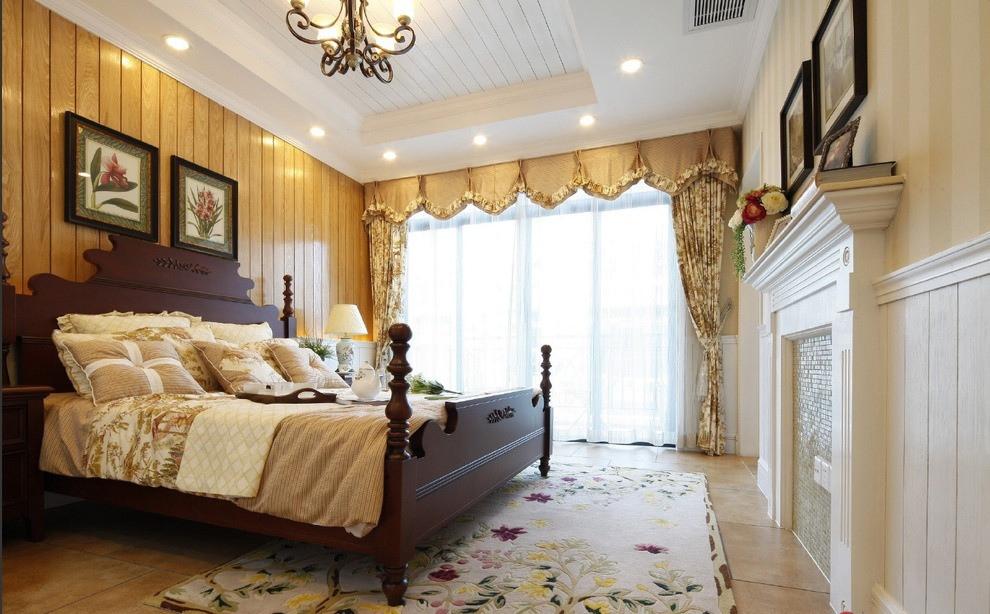 欧式乡村风格米色卧室装潢案例