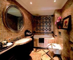 橙色复古时尚创意美式卫生间效果图欣赏