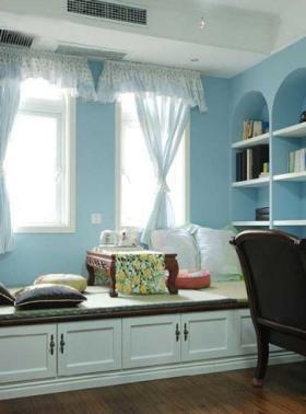 2016地中海风格蓝色飘窗设计装潢