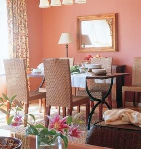 粉色浪漫田园风餐厅装修效果图