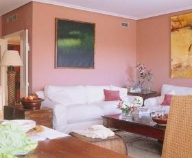 粉色浪漫田园风客厅装修设计