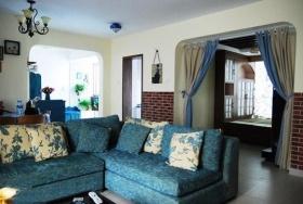 地中海风格浪漫蓝色客厅装修设计2016