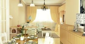 田园米色客厅吊顶设计欣赏