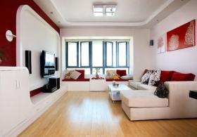 2016简约创意时尚红色客厅装潢