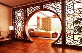 红色中式卧室隔断装修案例