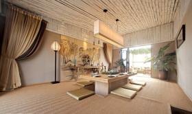 米色中式餐厅榻榻米设计图