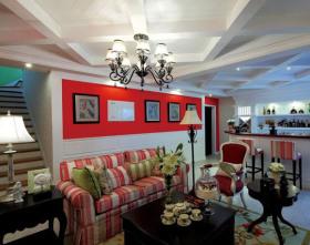 田园风格个性红色客厅吊顶装修效果图