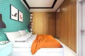 简约绿色卧室背景墙装饰案例
