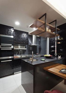 黑色简约风格厨房橱柜装潢