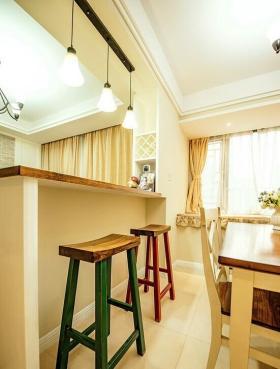 浪漫时尚淡雅美式乡村黄色吧台设计