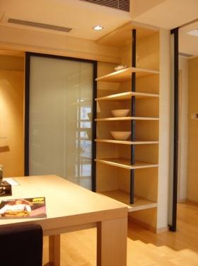 米色时尚简约风格客厅橱柜装修效果图片