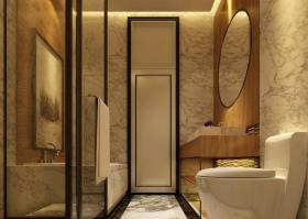 黄色新中式风格卫生间装潢案例