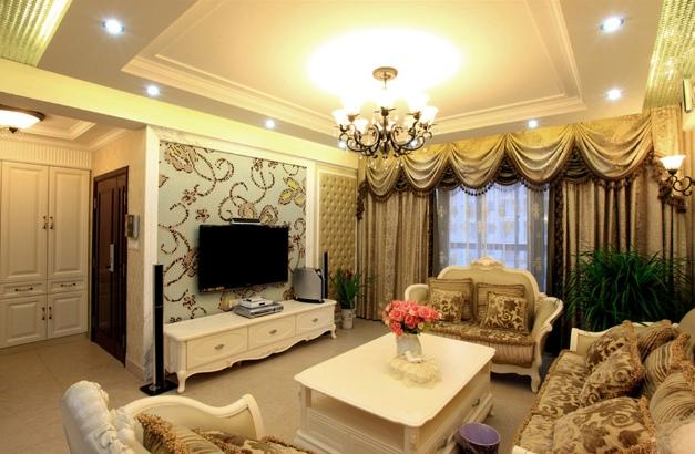欧式风格轻奢米色客厅装修美图图片