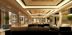 中式简洁客厅吊顶装饰图