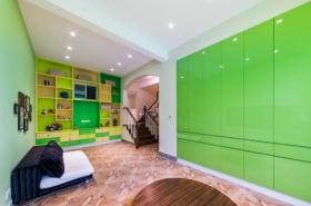 绿色现代书房收纳柜装饰案例