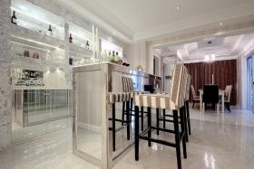 美式风格质感白色吧台装修图片