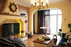 黄色东南亚风格客厅吊顶装修布置