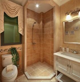 橙色雅致中式风格卫生间设计欣赏