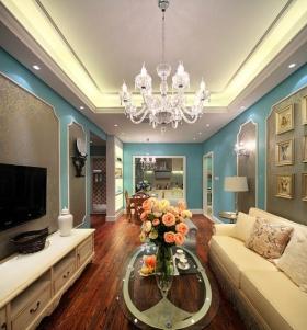浪漫时尚精致简欧风格客厅吊顶装潢设计