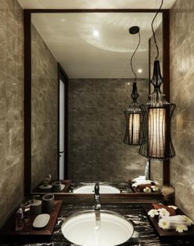 黑色东南亚风格卫生间设计装潢