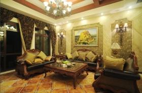 绿色新古典风格客厅背景墙美图欣赏