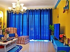 乡村田园风格创意撞色客厅设计图