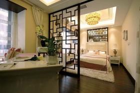黄色新古典卧室连书房吊顶设计图片