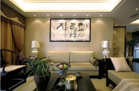 黄色新古典风格客厅吊顶装修图片