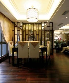 黄色中式风格餐厅隔断装修设计图片