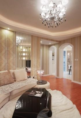 米色简约风格客厅吊顶图片