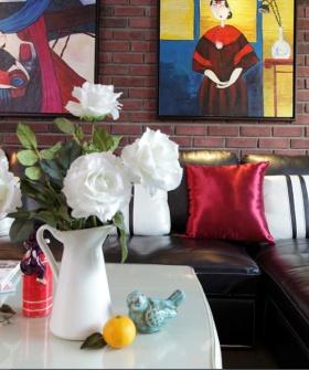 个性摩登艺术混搭风格红色客厅局部设计图片