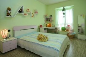 简约绿色儿童房卧室装潢设计