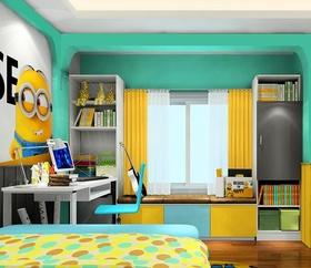 混搭风格小黄人蓝色儿童房飘窗装修