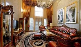 奢侈华丽欧式风格红色客厅吊顶设计案例