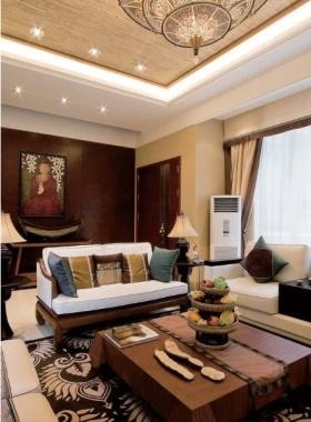 红色东南亚风格客厅背景墙设计欣赏