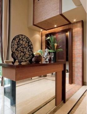 橙色清新中式风格玄关装饰设计图片