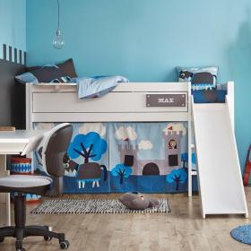 蓝色可爱创意混搭儿童房衣柜装潢